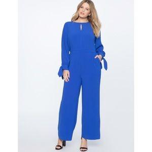 Eloquii | Blue Wide Leg Jumpsuit with Tie Sleeves